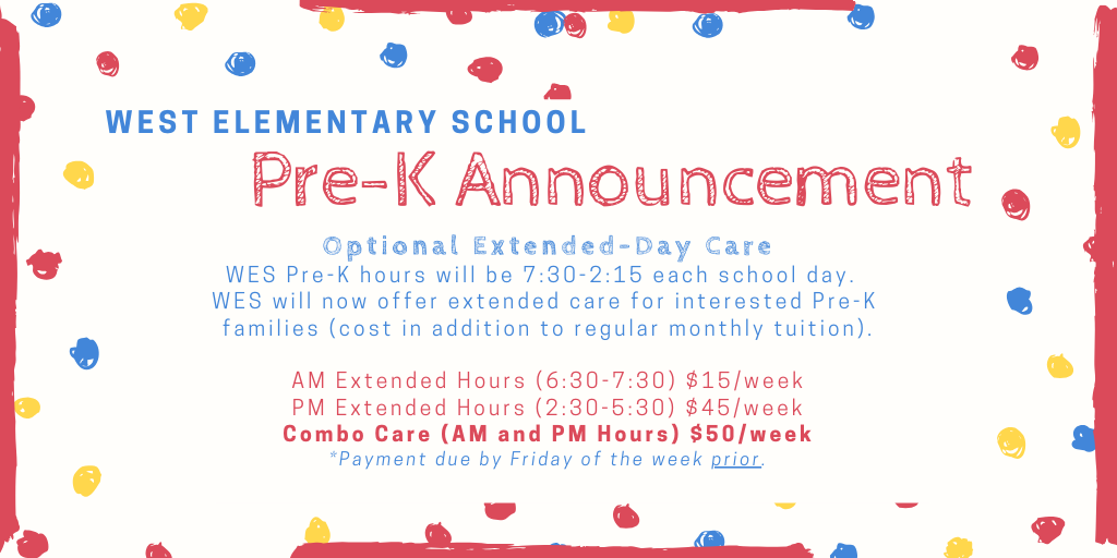 NEW for 2020-21: Extended Care for WES PreK