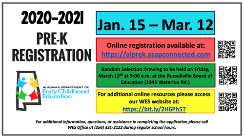 2020-2021 PreK Pre-Registration Will Go Live On January 15th!